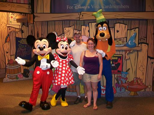 Livinwithme blog archive anniversary trip to disney part 2 since we have a disney visa card we were able to go to the special character meet and greet and get our picture taken with mickey minnie and goofy m4hsunfo